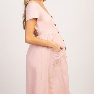 Pinkblush Dresses - NWT Pinkblush Button Front Maternity Midi Dress L